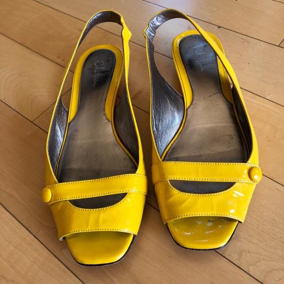 Super cute Cole Haan yellow kitten heels!
